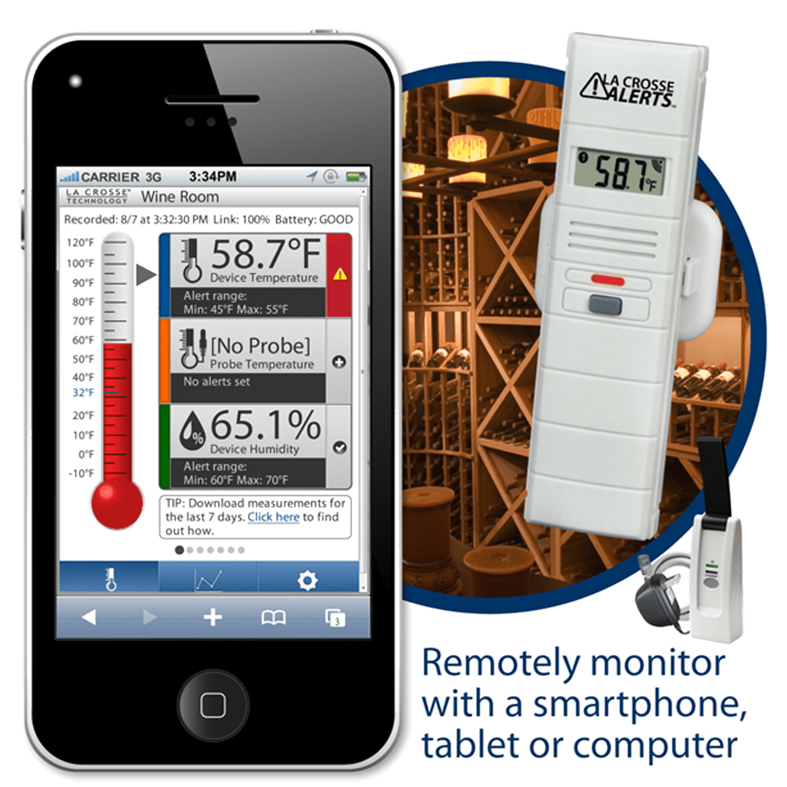 La Crosse Temperature Monitor for Wine Cellars  Quench Essentials