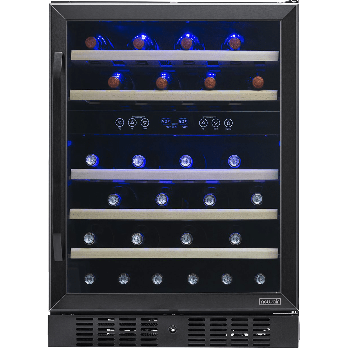 Image of NewAir 46 Bottle Dual Zone Compressor Wine Cooler - Black Stainless Steel